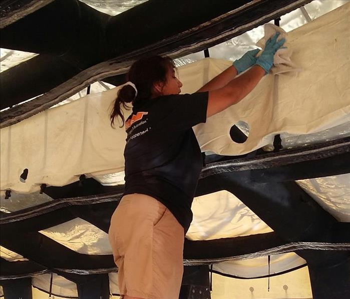 Cleaning Outside Event Tent