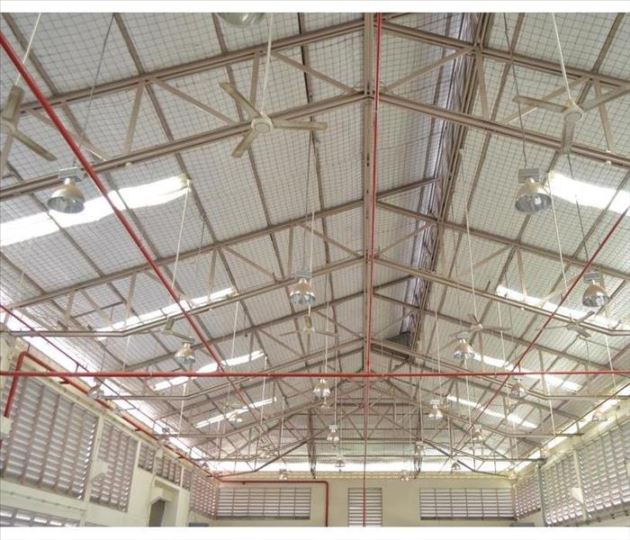 Factory roof structure and automatic fire protection in building system